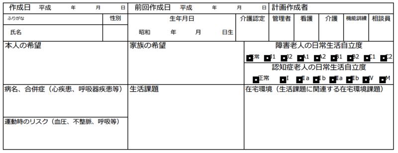 個別機能訓練計画書の基本情報欄