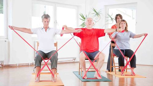 高齢者のためのセラバンド体操 | 座ってできる上肢トレーニング【全16種】