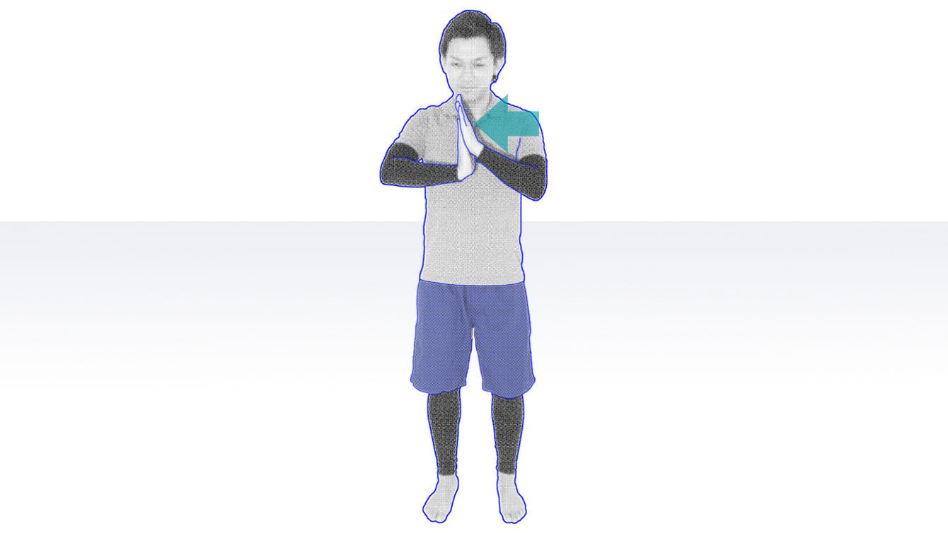 高齢者の立位での準備体操 手首・手指のストレッチ