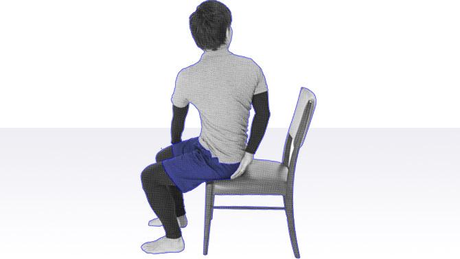 高齢者向け座位での体操|体幹回旋のストレッチ