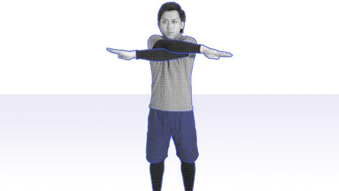 立位で肩甲骨の動き・上肢の可動性ストレッチ