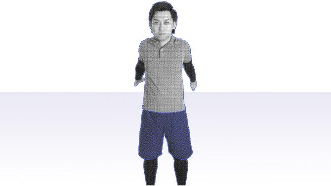 立位で肩甲骨の動きを意識してストレッチ