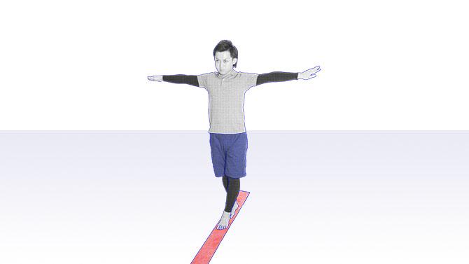 バランス評価 継ぎ足歩行テスト(タンデム歩行)