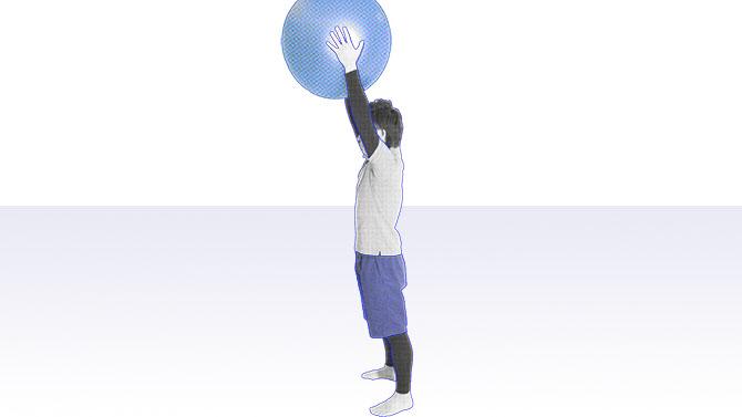 バランスボールを持った肩の筋力トレーニング