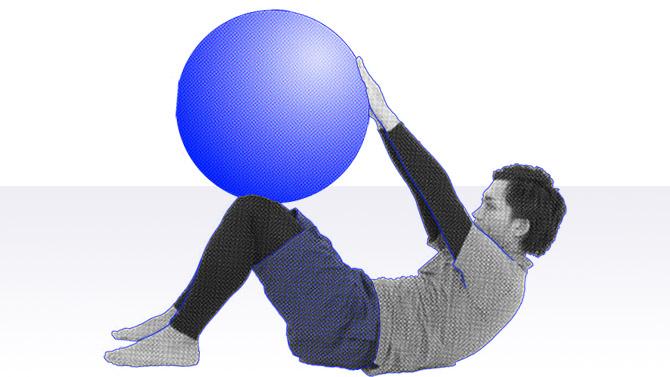 バランスボールでクランチと呼ばれる腹筋のトレーニング1