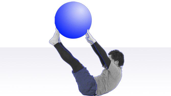 バランスボールでクランチと呼ばれる腹筋のトレーニング2