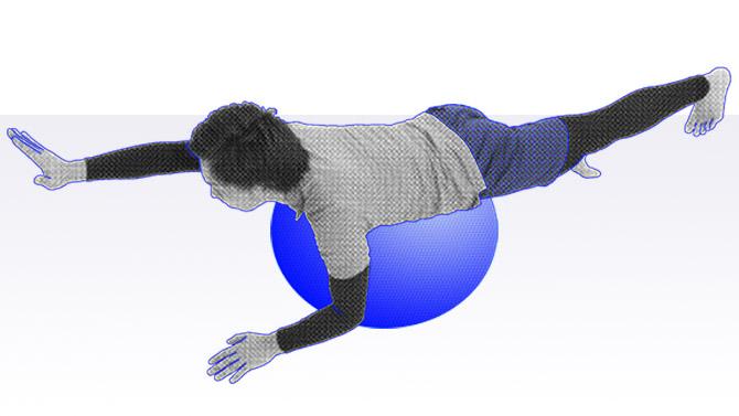 バランスボールのトレーニング ダイアゴナルと呼ばれる背中の筋力トレーニング