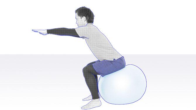 バランスボールに座りながら前後・左右のバランス能力を鍛えるトレーニング1