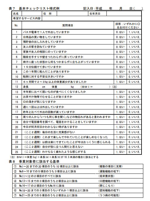 厚生労働省の示した総合事業対象者の基本チェックリスト様式の例