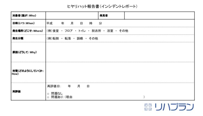 ヒヤリハット報告書(インシデントレポート)