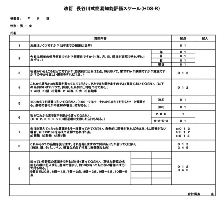 長谷川式認知症スケール HDS-R
