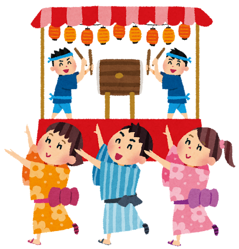 8月の季節の行事 盆踊り・お祭りのイラスト